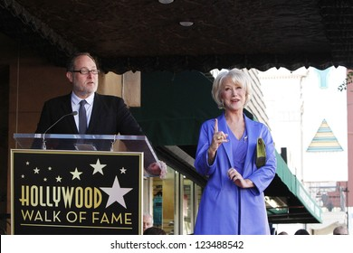 LOS ANGELES - JAN 3: Jon Turtletaub, Helen Mirren at a ceremony as Helen Mirren is honored with star on the Hollywood Walk of Fame on January 3, 2013 in Los Angeles, California