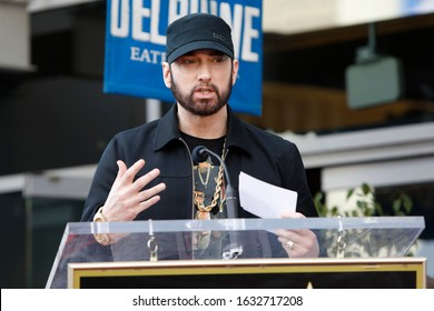 LOS ANGELES - JAN 30:  Eminem, Marshall Bruce Mathers III at the 50 Cent Star Ceremony on the Hollywood Walk of Fame on January 30, 2019 in Los Angeles, CA