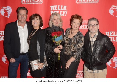 """LOS ANGELES - JAN 30:  Jimmy Van Patten, Connie Needham, Dianne Kay, Laurie Walters, Adam Rich at the """"Hello Dolly!"""" Opening night at the Pantages Theater on January 30, 2019 in Los Angeles, CA"""