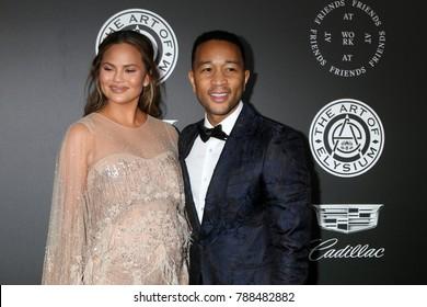 LOS ANGELES - JAN 6:  Chrissy Teigen, John Legend_ at the The Art of Elysium presents John Legend's HEAVEN at Barker Hanger on January 6, 2018 in Santa Monica, CA