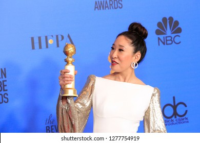 LOS ANGELES - JAN 6:  Sandra Oh at the 2019 Golden Globe Awards - Press Room at the Beverly Hilton Hotel on January 6, 2019 in Beverly Hills, CA