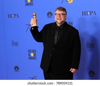 LOS ANGELES - JAN 7:  Guillermo Del Toro at the 75th  Golden Globes Press Room at Beverly Hilton Hotel on January 7, 2018 in Beverly Hills, CA