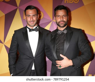 LOS ANGELES - JAN 7:  Jwan Yosef, RIcky Martin at the HBO Post Golden Globe Party 2018 at Beverly Hilton Hotel on January 7, 2018 in Beverly Hills, CA