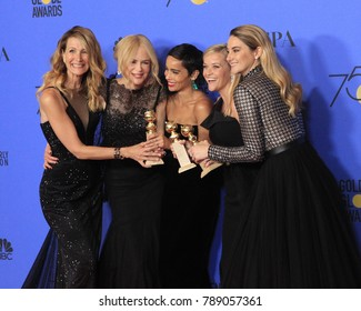 LOS ANGELES - JAN 7:  Laura Dern, Nicole Kidman, Zoe Kravitz, Reese Witherspoon, Shailene Woodley at the 75th  Golden Globes Press Room at Beverly Hilton Hotel on January 7, 2018 in Beverly Hills, CA
