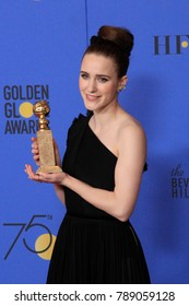 LOS ANGELES - JAN 7:  Rachel Brosnahan at the 75th  Golden Globes Press Room at Beverly Hilton Hotel on January 7, 2018 in Beverly Hills, CA
