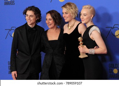 LOS ANGELES - JAN 7:  Timothee Chalamet, Laurie Metcalf, Greta Gerwig, Saoirse Ronan at the 75th  Golden Globes Press Room at Beverly Hilton Hotel on January 7, 2018 in Beverly Hills, CA