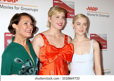 LOS ANGELES - JAN 8:  Laurie Metcalf, Greta Gerwig, Saoirse Ronan  at the AARP's 17th Annual Movies For Grownups Awards at Beverly Wilshire Hotel on January 8, 2018 in Beverly Hills, CA