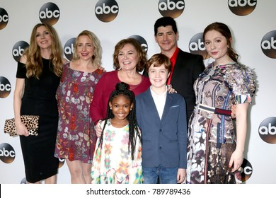 LOS ANGELES - JAN 8:  Sarah Chalke, Lecy Goranson, Roseanne Barr, Guests. Michael Fishman, Emma Kinney at the ABC TCA Winter 2018 Party at Langham Huntington Hotel on January 8, 2018 in Pasadena, CA