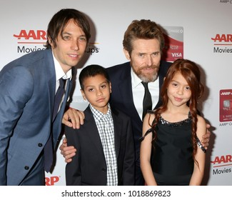 LOS ANGELES - JAN 8:  Sean Baker, Christopher Rivera, Willem Dafoe, Valeria Cotto at the AARP's 17th Annual Movies For Grownups Awards at Beverly Wilshire Hotel on January 8, 2018 in Beverly Hills, CA