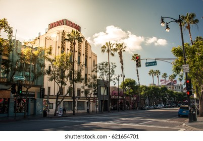 LOS ANGELES - JANUARY 2017. Hollywood boulevard with walk of fame, the Kress building in Los Angeles, California, USA