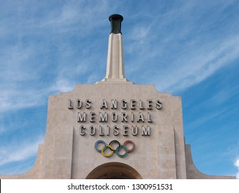 Los Angeles - January 21, 2014: Los Angeles Memorial Coliseum sign on top of building, which is the site of many landmark events including two summer Olympics the latest in 1984, in The Peristyle.