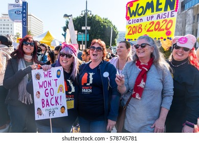 LOS ANGELES - JANUARY 21. Women support Planned Parenthood as part of the Women's March on January 21, 2017 in downtown Los Angeles.