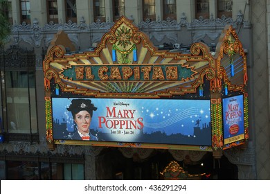 LOS ANGELES - JANUARY 23:  El Capitan Theater featuring a Mary Poppins ad in Hollywood. El Capitan Theater is owned and operated by The Walt Disney Company. on January 23, 2014, Los Angeles.
