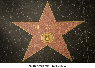 Los Angeles - January 25, 2020: Bill Cosby's star on the Hollywood Walk of Fame