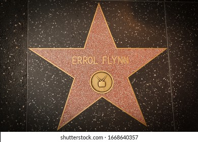 Los Angeles - January 25, 2020: Errol Flynn's star on the Hollywood Walk of Fame