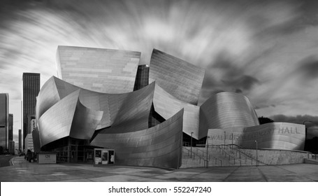 LOS ANGELES - JANUARY 3 2017: Dramatic black and white photo of Walt Disney Concert hall.The concert hall houses the Los Angeles Philharmonic Orchestra and is a design by architect Frank Gehry.