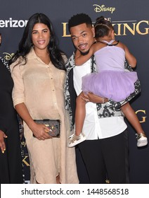 LOS ANGELES - JUL 09:  Kirsten Corley, Chance The Rapper and Kensli Bennett arrives for Disney's 'The Lion King' World Premiere on July 09, 2019 in Hollywood, CA