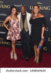 LOS ANGELES - JUL 09:  Michaela Jean Burton, LeVar Burton and Stephanie Cozart Burton arrives for Disney's 'The Lion King' World Premiere on July 09, 2019 in Hollywood, CA