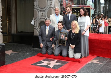 LOS ANGELES - JUL 1:  Michael Douglas, Adam Scott, Paul Rudd, Chamber Officials at the Paul Rudd Hollywood Walk of Fame Ceremony at the El Capitan Theater Sidewalk on July 1, 2015 in Los Angeles, CA