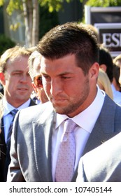 LOS ANGELES - JUL 11:  Tim Tebow arrives at the 2012 ESPY Awards at Nokia Theater at LA Live on July 11, 2012 in Los Angeles, CA