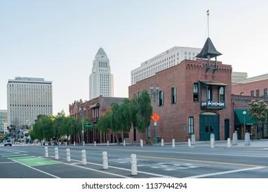 Los Angeles, JUL 12: City hall and Plaza Firehouse on JUL 12, 2018 at Los Angeles, California