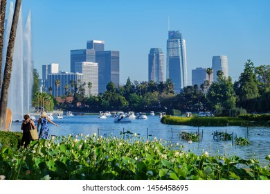 Los Angeles, JUL 13: Afternoon view of the famous Los Angeles downtown skyline in Echo Park in Echo Park on JUL 13, 2019 at Los Angeles, California