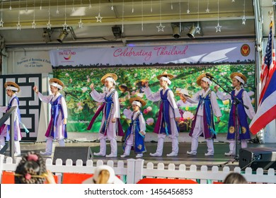 Los Angeles, JUL 13: Korean girls dancing on the stage for Lotus Festival Echo Park on JUL 13, 2019 at Los Angeles, California