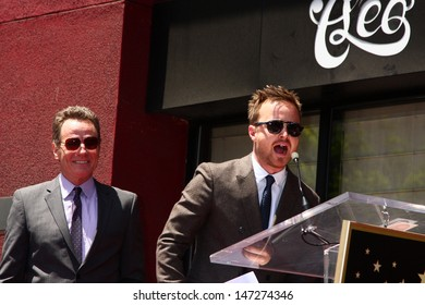 LOS ANGELES - JUL 16:  Aaron Paul, Bryan Cranston at the Hollywood Walk of Fame Star Ceremony for Bryan Cranston at the Redbury Hotel on July 16, 2013 in Los Angeles, CA