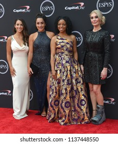 LOS ANGELES - JUL 18:  Aly Raisman, Jordyn Wieber, Tiffany Thomas Lopez and Sarah Klein arrives to the 2018 ESPY Awards  on July 18, 2018 in Hollywood, CA