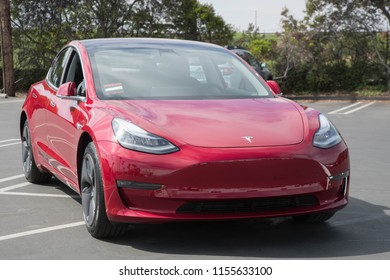 LOS ANGELES - JUL 20: Close up view of a Model 3 in Tesla's Delivery Center on July 21, 2018 in Los Angeles. Tesla's future depends on the success of this new electric vehicle.
