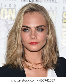 LOS ANGELES - JUL 21:  Cara Delevingne arrives to the Comic Con 2016 - Valerian and the City of a Thousand Planets PhotoCall on July 21, 2016 in San Diego, CA