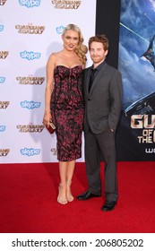 """LOS ANGELES - JUL 21:  Clare Grant, Seth Green at the """"Guardians Of The Galaxy"""" Premiere at the Dolby Theater on July 21, 2014 in Los Angeles, CA"""