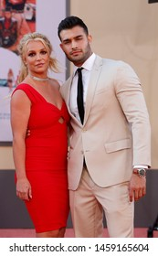 "LOS ANGELES - JUL 22:  Britney Spears, Sam Asghari at the ""Once Upon a Time in Hollywood"" Premiere at the TCL Chinese Theater IMAX on July 22, 2019 in Los Angeles, CA"