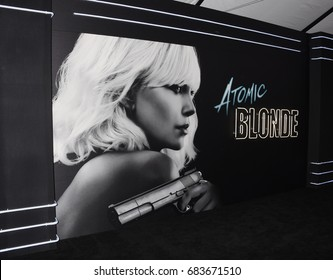 "LOS ANGELES - JUL 24:  Atomic Blonde Signage arrives to the ""Atomic Blonde"" American Premiere  on July 24, 2017 in Los Angeles, CA"