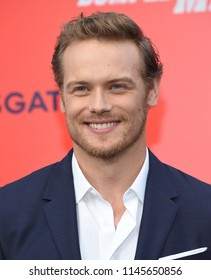 LOS ANGELES - JUL 25:  Sam Heughan arrives to 'The Spy Who Dumped Me' Los Angeles Premiere  on July 25, 2018 in Hollywood, CA