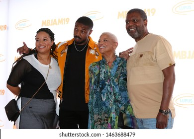 LOS ANGELES - JUL 27:  Donna jordan, Michael B. Jordan, Donna Jordan, Michael A. Jordan at the 3rd Annual MBJAM19 at the Dave & Busters on July 27, 2019 in Los Angeles, CA