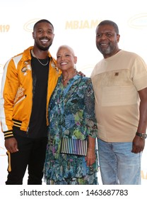 LOS ANGELES - JUL 27:  Michael B. Jordan, Donna Jordan, Michael A. Jordan at the 3rd Annual MBJAM19 at the Dave & Busters on July 27, 2019 in Los Angeles, CA