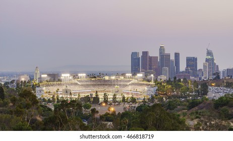 Los Angeles, JUL 29: Beautiful aerial view of Dodger Stadium with downtown on JUL 29, 2016 at Los Angeles.