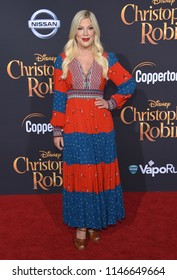 """LOS ANGELES - JUL 30:  Tori Spelling arrives to the """"Christopher Robin"""" World Premiere  on July 30, 2018 in Hollywood, CA"""