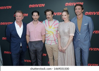 """LOS ANGELES - JUL 31:  Nick Hamm, Iddo Goldberg, Jason Sudeikis, Judy Greer, Lee Pace at the """"Driven"""" Los Angeles Premiere at the ArcLight Hollywood on July 31, 2019 in Los Angeles, CA"""