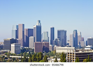 LOS ANGELES - JULY 17: The skyline of the City of Los Angeles, CA on July 17, 2011. The downtown center of Los Angeles was developed largely between 1970 and 1992.