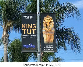 LOS ANGELES, JULY 21, 2018: Close up of an advertising banner above Olympic Boulevard in West LA promoting the King Tut exhibit at the California Science Center, set to run until January 6th, 2019.