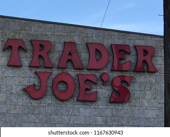 LOS ANGELES, JULY 21, 2018: Close up of the Trader Joe's logo at the Trader Joe's store on Olympic Boulevard in West LA.