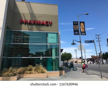 LOS ANGELES, JULY 21, 2018: Exterior shot of a Walgreens pharmacy on Olympic Boulevard in West LA.