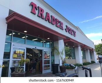 LOS ANGELES, JULY 21, 2018: Entrance to the Trader Joe's grocery store on Olympic Boulevard in West LA.