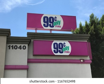 LOS ANGELES, JULY 21, 2018: Double logo on the building facade of the 99 Cents Only store on Pico Boulevard in West LA.