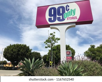 LOS ANGELES, JULY 21, 2018: Close up of the 99 Cents Only store sign at the store on Pico Boulevard in West LA.