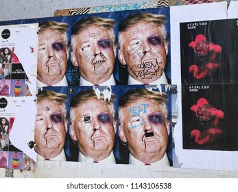 LOS ANGELES, JULY 26, 2018:  Close up of a defaced poster of President Donald Trump on the Hollywood Walk of Fame on Hollywood Boulevard.