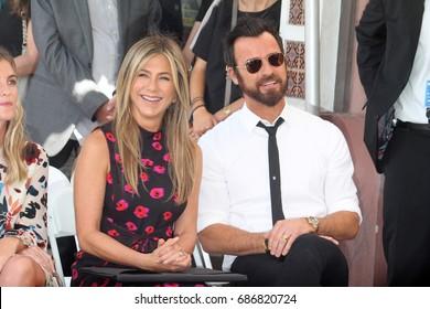 LOS ANGELES - July 26:  Jennifer Aniston, Justin Theroux at the Jason Bateman Hollywood Walk of Fame Star Ceremony at the Walk of Fame on July 26, 2017 in Hollywood, CA