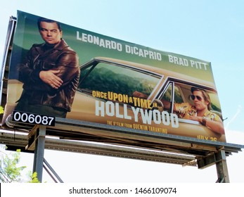 """LOS ANGELES - July 29, 2019:  Billboard ad for the Quentin Tarantino film """"Once Upon a Time in Hollywood""""."""